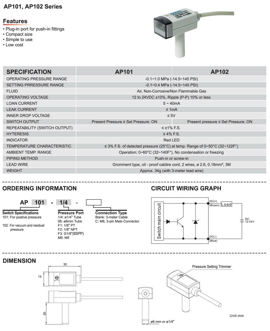 Airworker Plug In Switch M8 3 Pin Wiring Diagram Quickspec Sheet Ap101 102